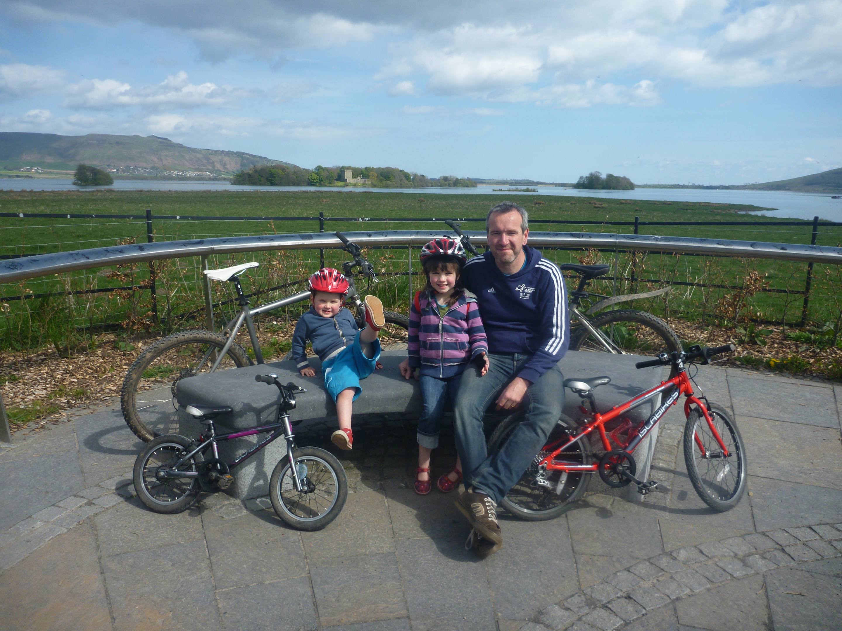 Scot and his children MacTavish and Maisie: Loch Leven is a great place for a first family cycle