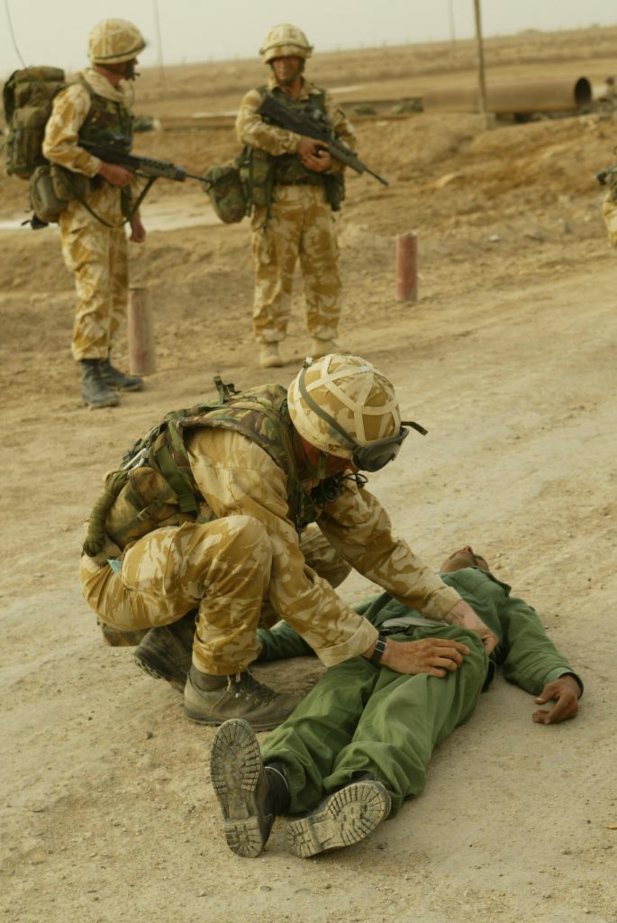40 Commando, Royal Marines with Iraq prisoners, after taking the Alfaw Oil fields on the Alfaw Peninsula.