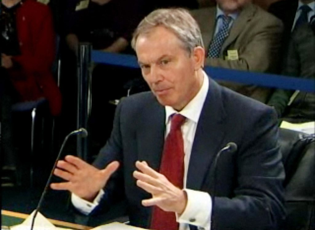 Tony Blair giving evidence to the Iraq Inquiry.
