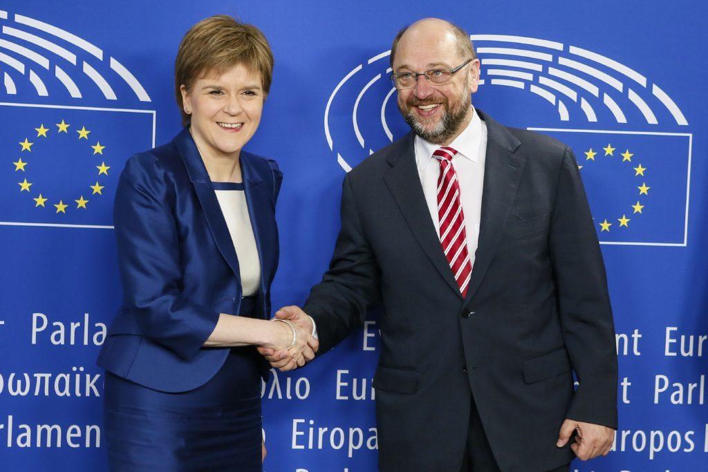 Scottish First Minister Nicola Sturgeon meeting European Parliament President Martin Schulz to discuss options for keeping Scotland in the European Union.