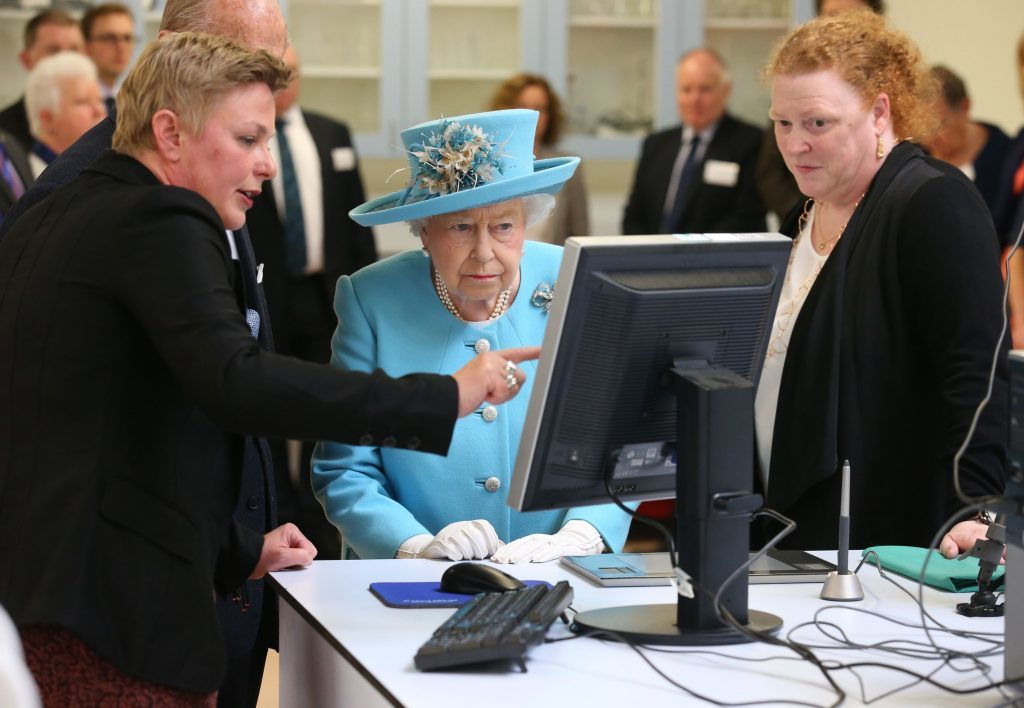 Dr Lucina Hackman (left) and Professor Sue Black greeting the royal couple to the new Leverhulme Research Centre.