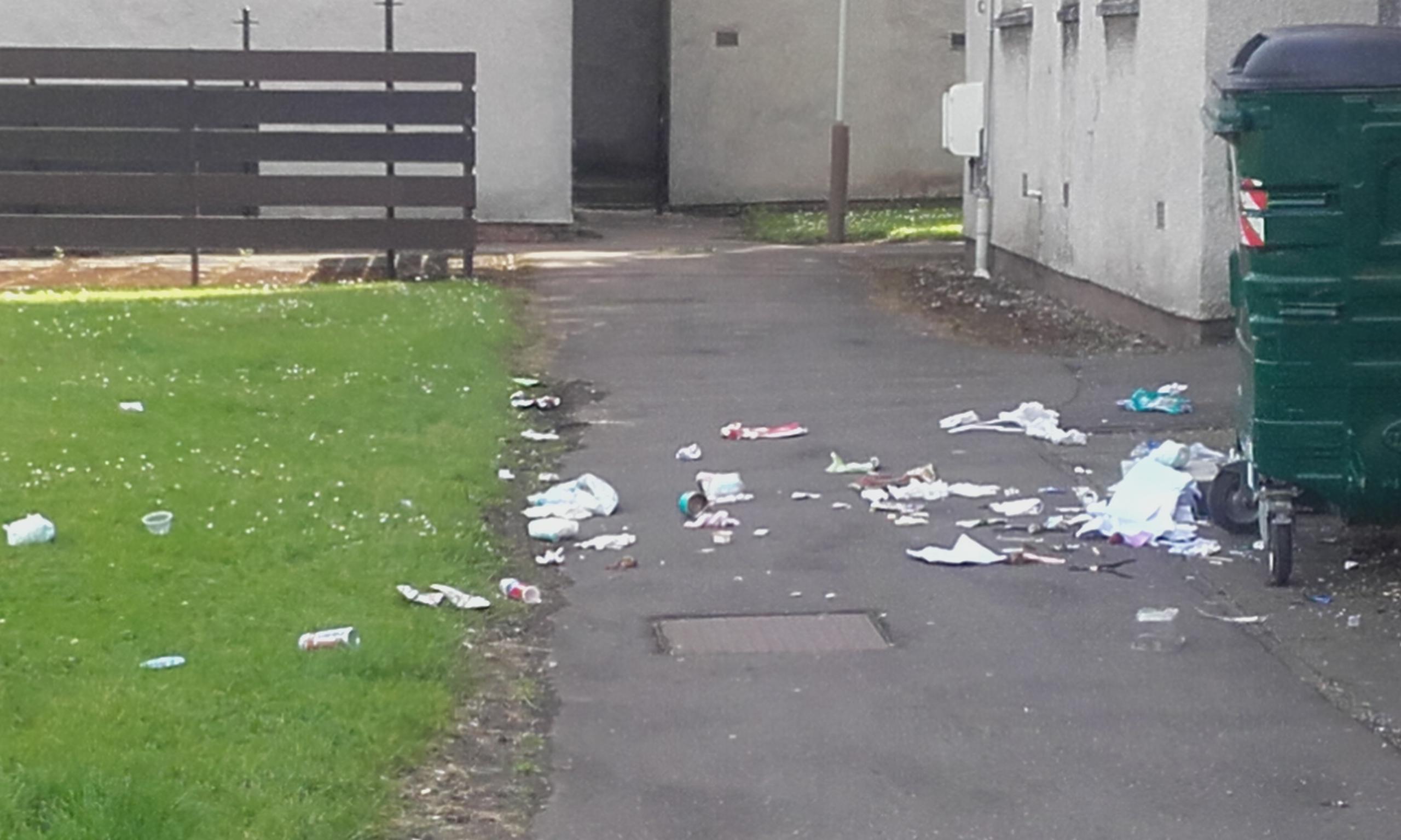 The bin in front of Jackie Jaskolski's flat.