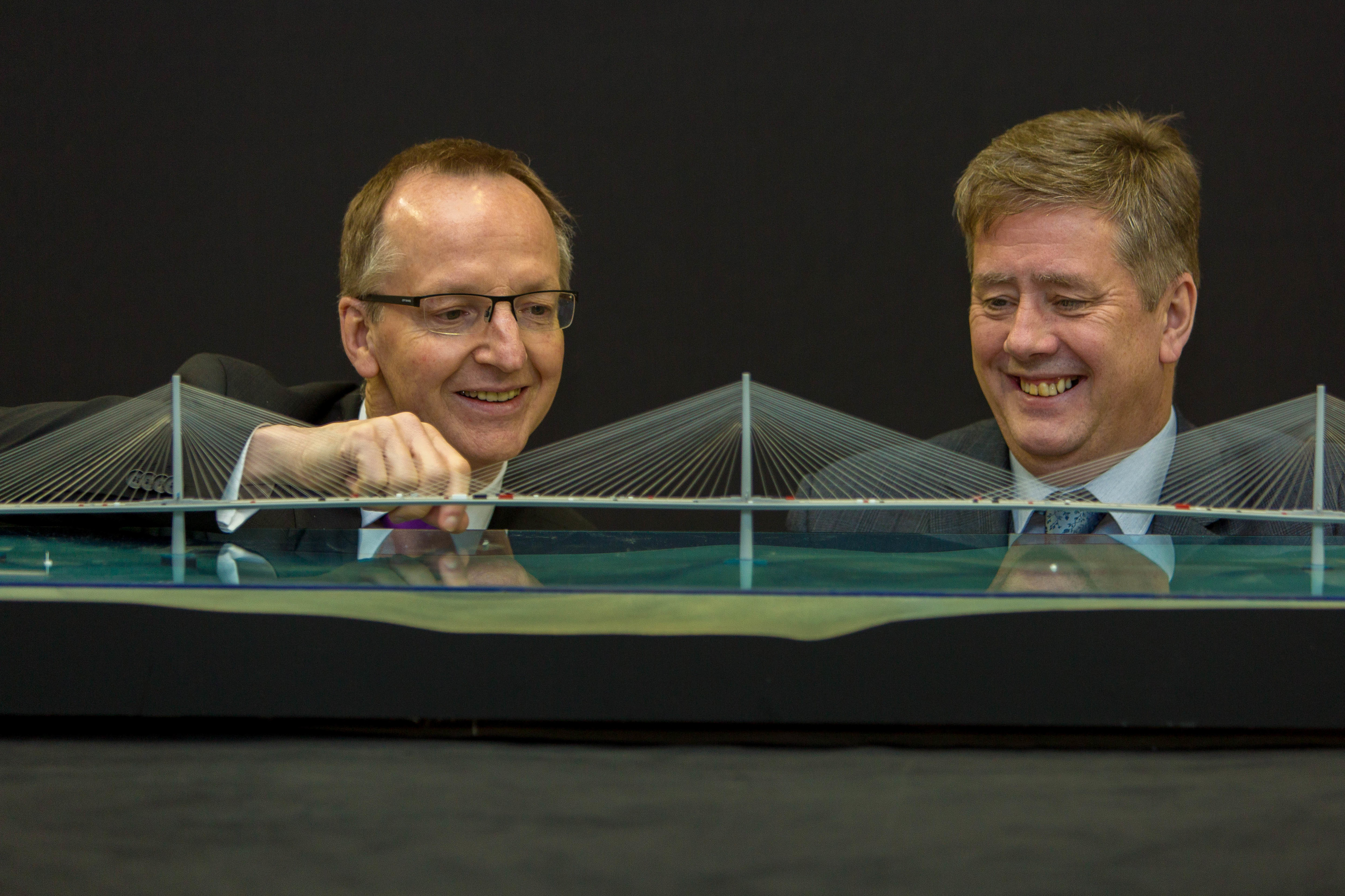 Minister Keith Brown is shown the model of the new Queensferry Crossing at National Museums Collections Centre in Edinburgh by Dr Gordon Rintoul