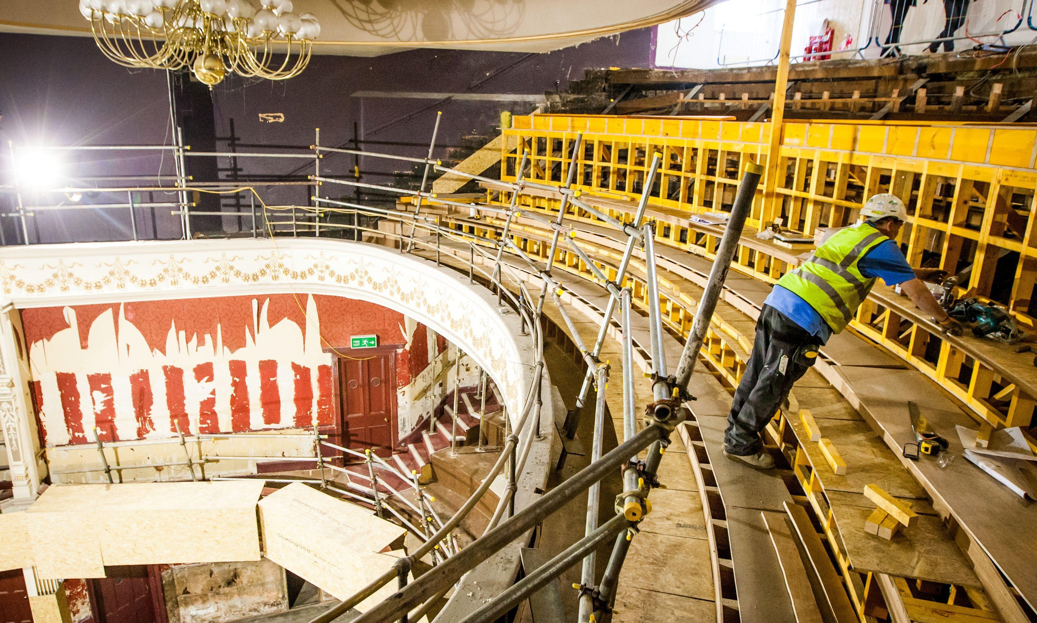 Work on the original auditorium at Perth Theatre.