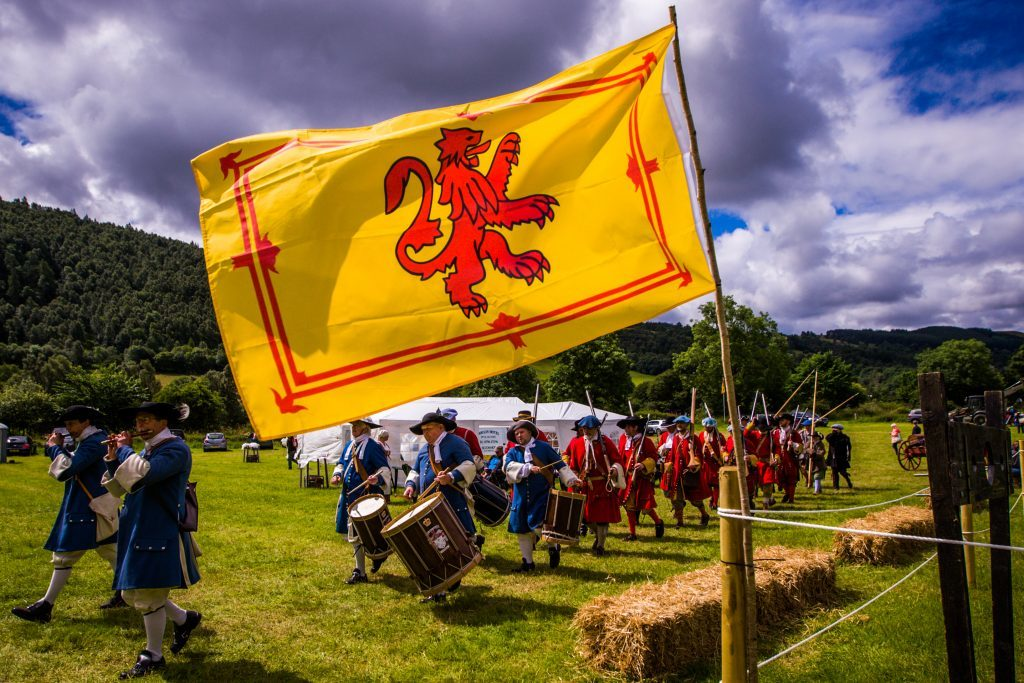 The Battle of Killiecrankie reenactment. Picture shows scenes from the main arena during the 'Infantry - Government Troops' display. Killiecrankie Battlefield.