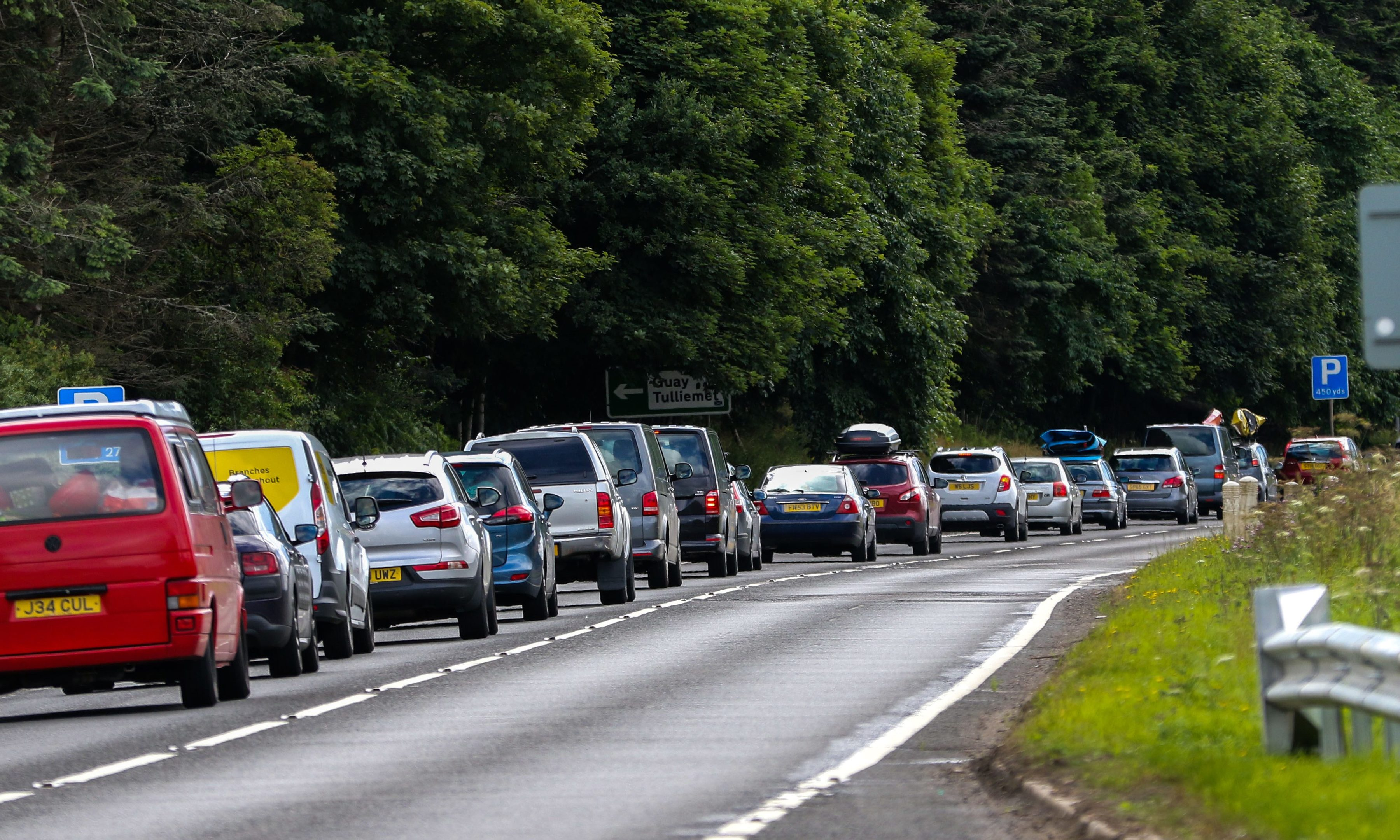 Southbound queues on the A9 near Dunkeld on Saturday morning.