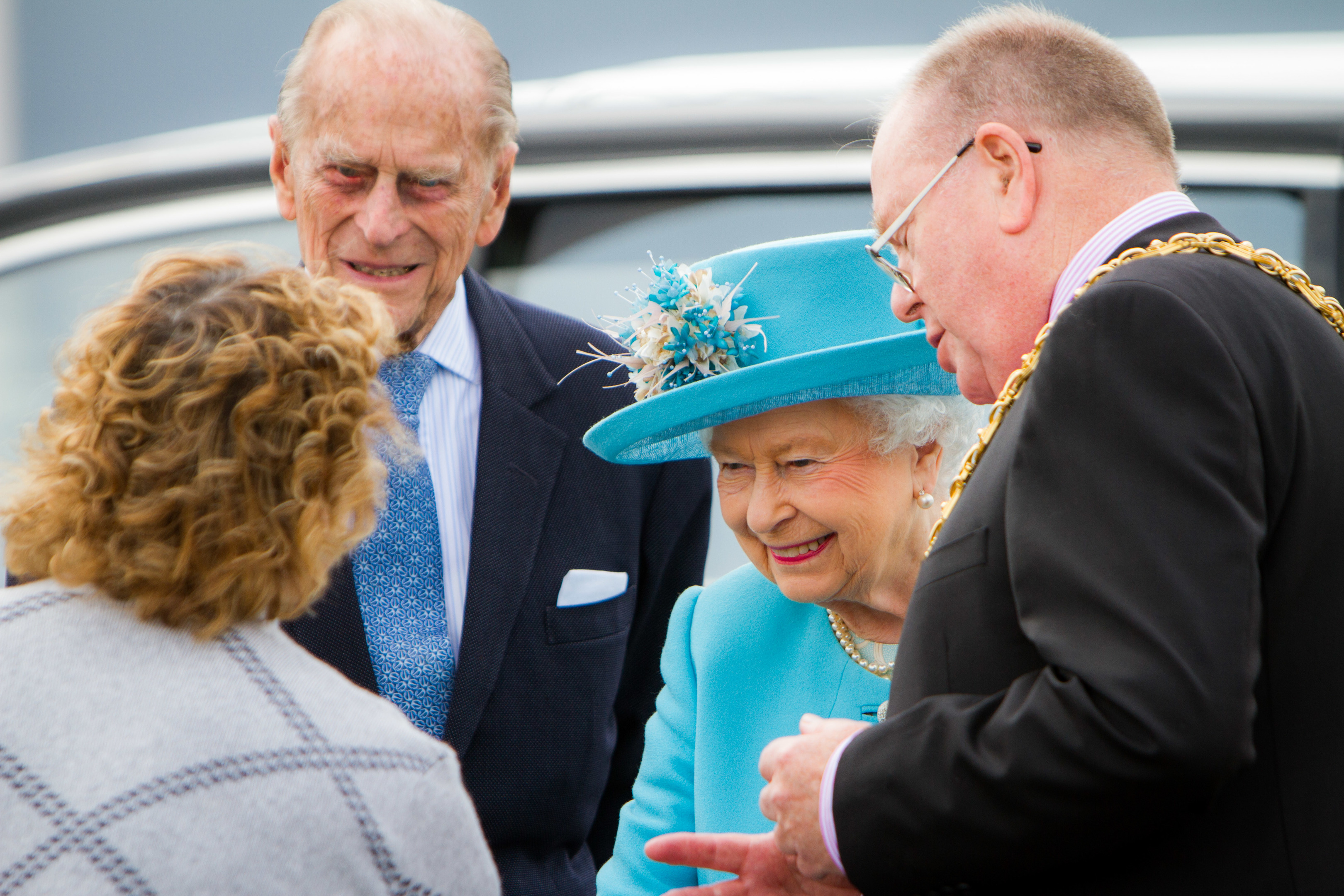 Prince Philip and the Queen with lord provost Bob Duncan