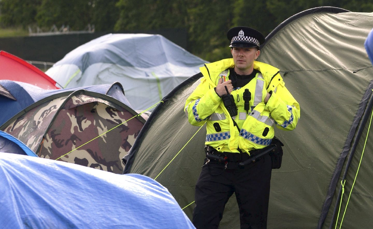 Police in the campsite at T in the Park.