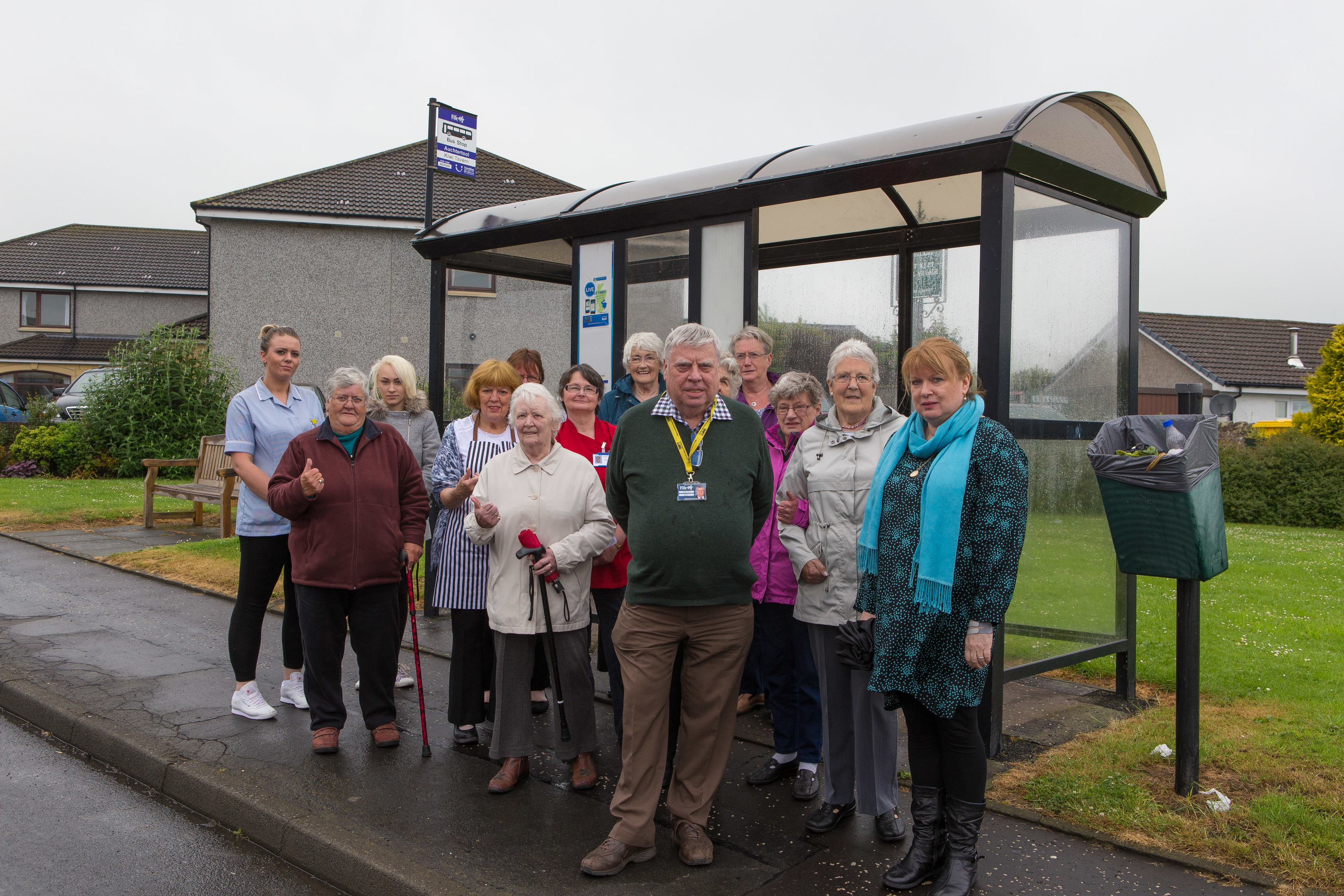 Auchtertool residents, pictured with Cllrs Susan Leslie and George Kay, feared they would be left without a bus service