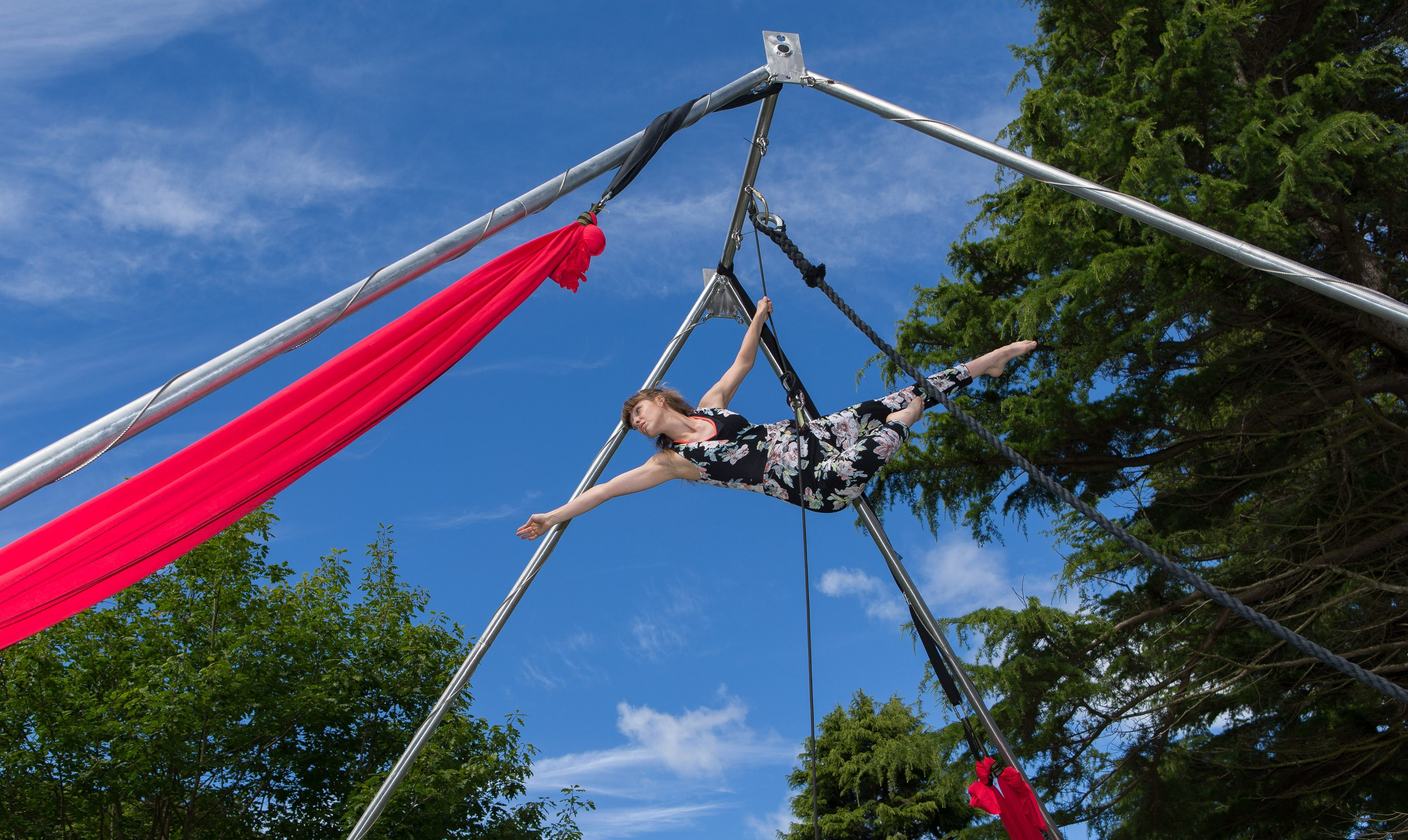 Marie WIlliamson flies high as part of the All or Nothing Aerial Dance performance at Festival 16