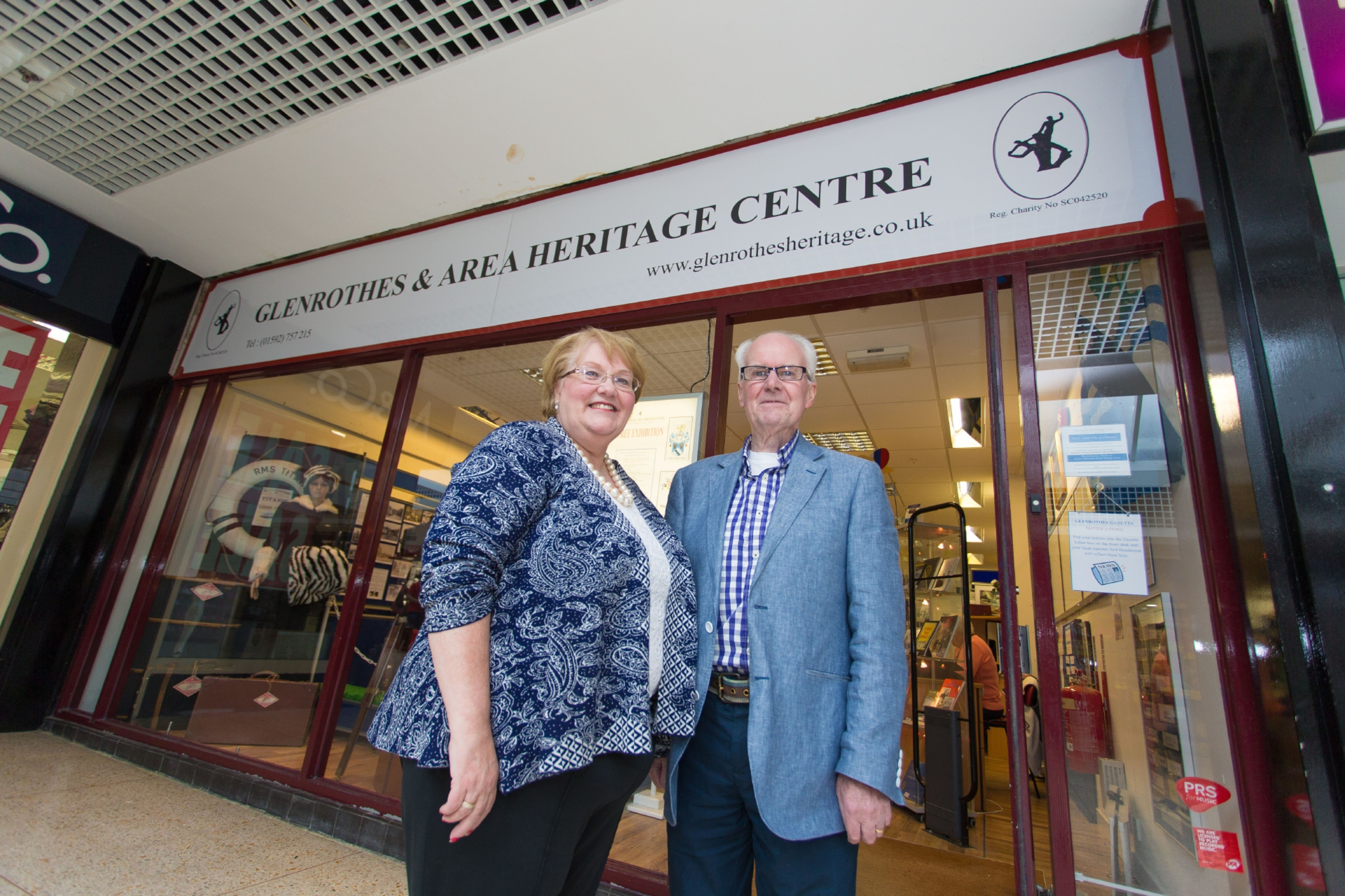 Founder and Chair of the Heritage Centre  Linda Ballingall and (right) Trustee David Brown.