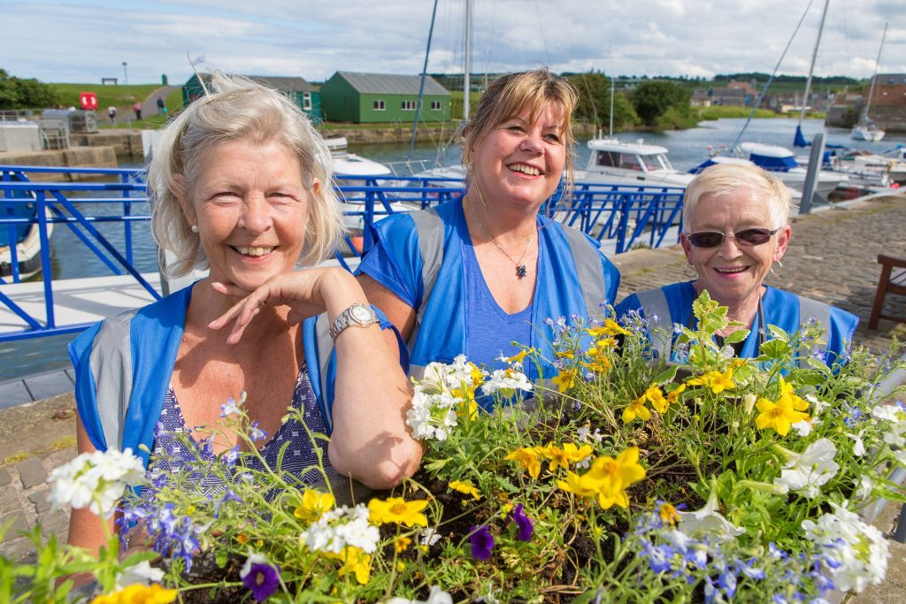 St Andrews in Bloom volunteers Barbara Boyd, Marysia Denyer and Christine Hulbert planting at the harbour