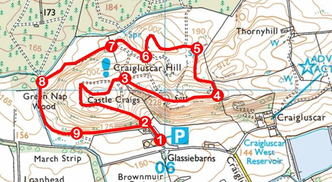 Take a Hike 121 - July 16, 2016 - Craigluscar Hill, Dunfermline, Fife OS map extract