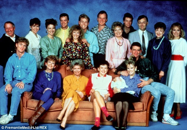 The original cast of Neighbours with Mrs Mangel second from right.