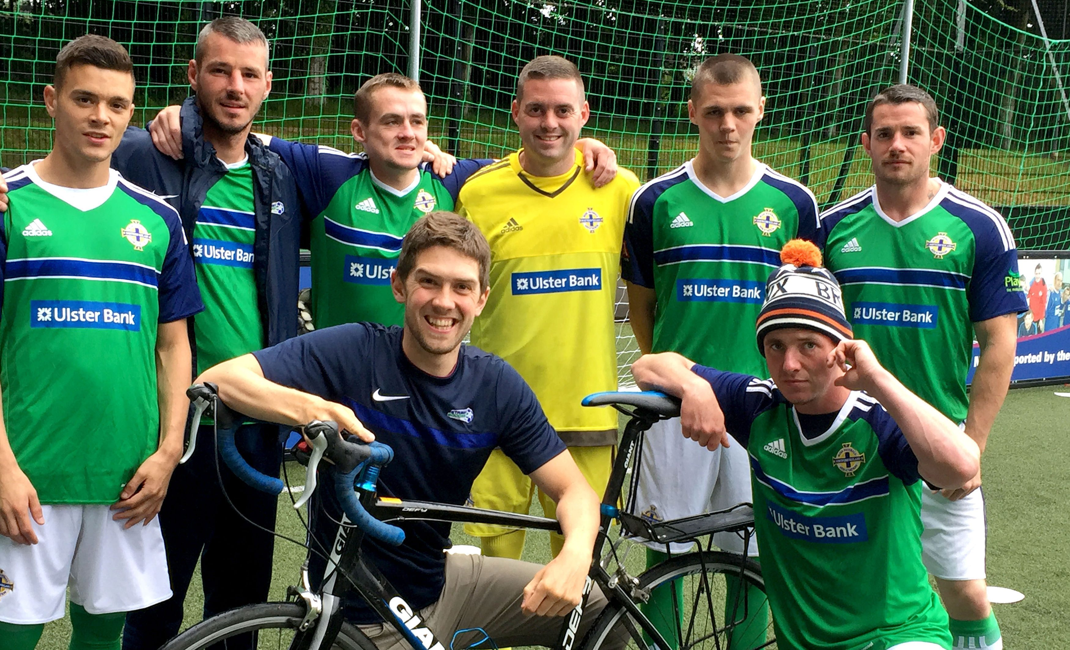 Dr Stephen Collins with the Street Soccer NI team.