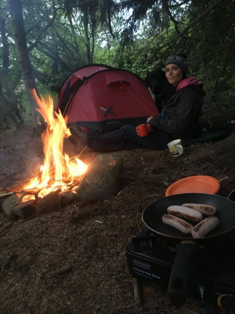 Sizzling sausages - the perfect camping meal.