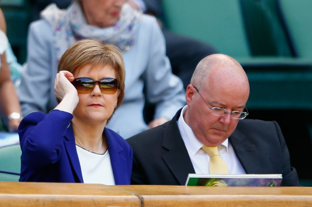 Nicola Sturgeon with her husband Peter Murrell at Wimbledon