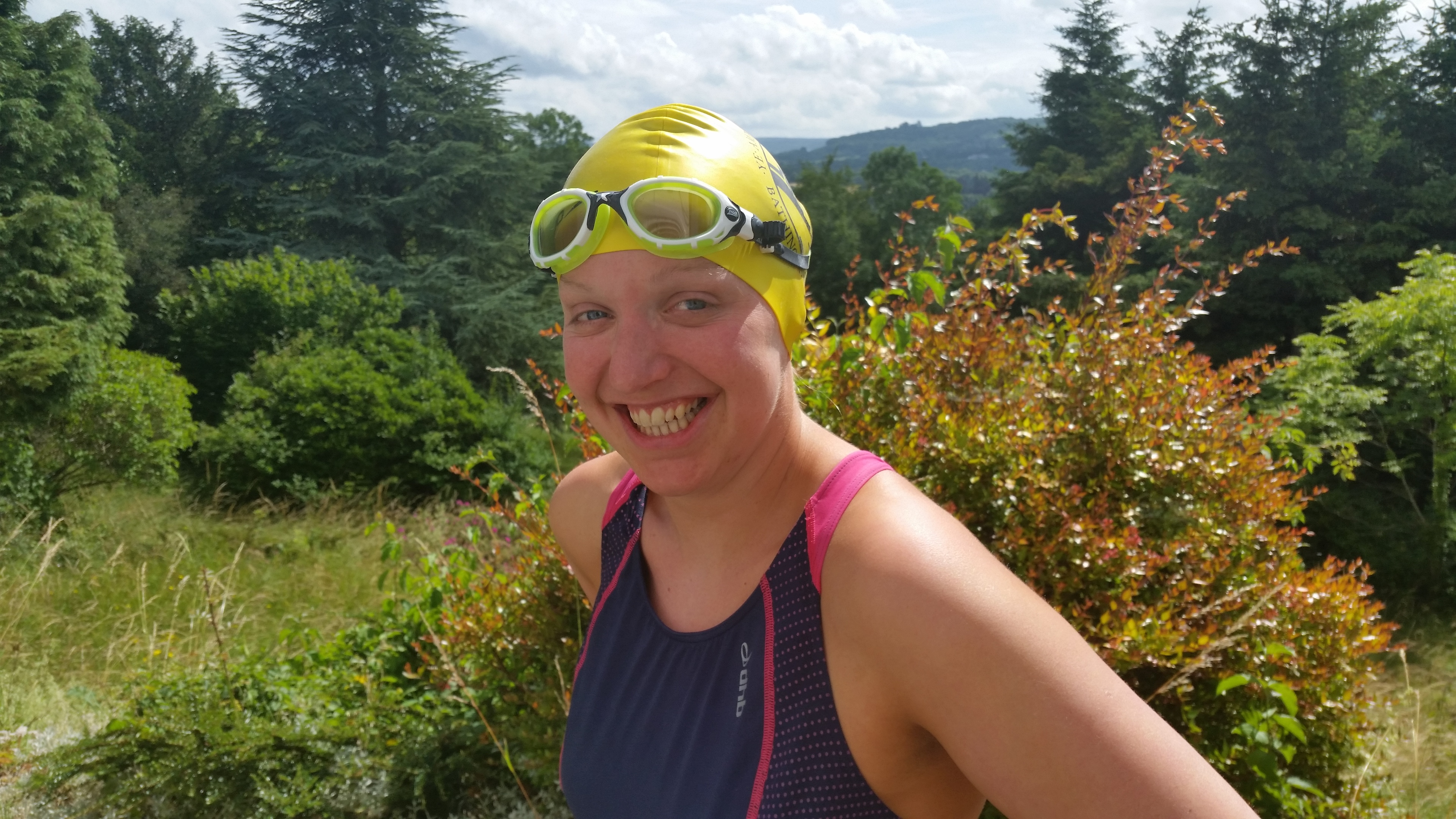 Mhairi Murdoch, wearing her Ye Amphibious Ancients Bathing Association swim cap