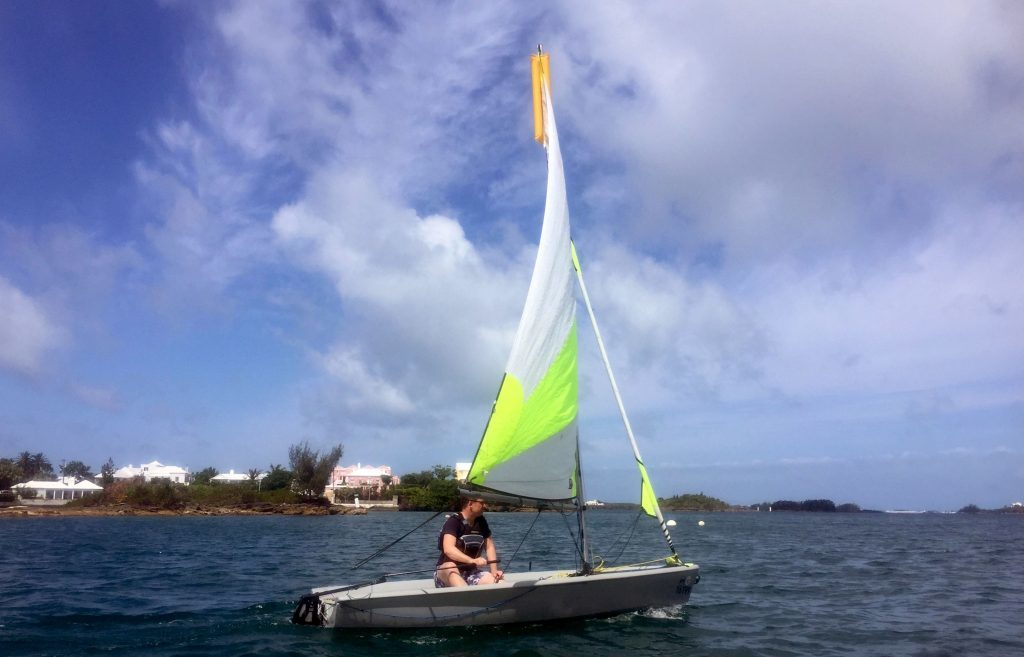 Dinghy sailing in Hamilton Harbour.