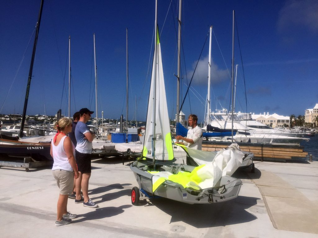 A lesson on the quay side at Royal Bermuda Yacht Club.