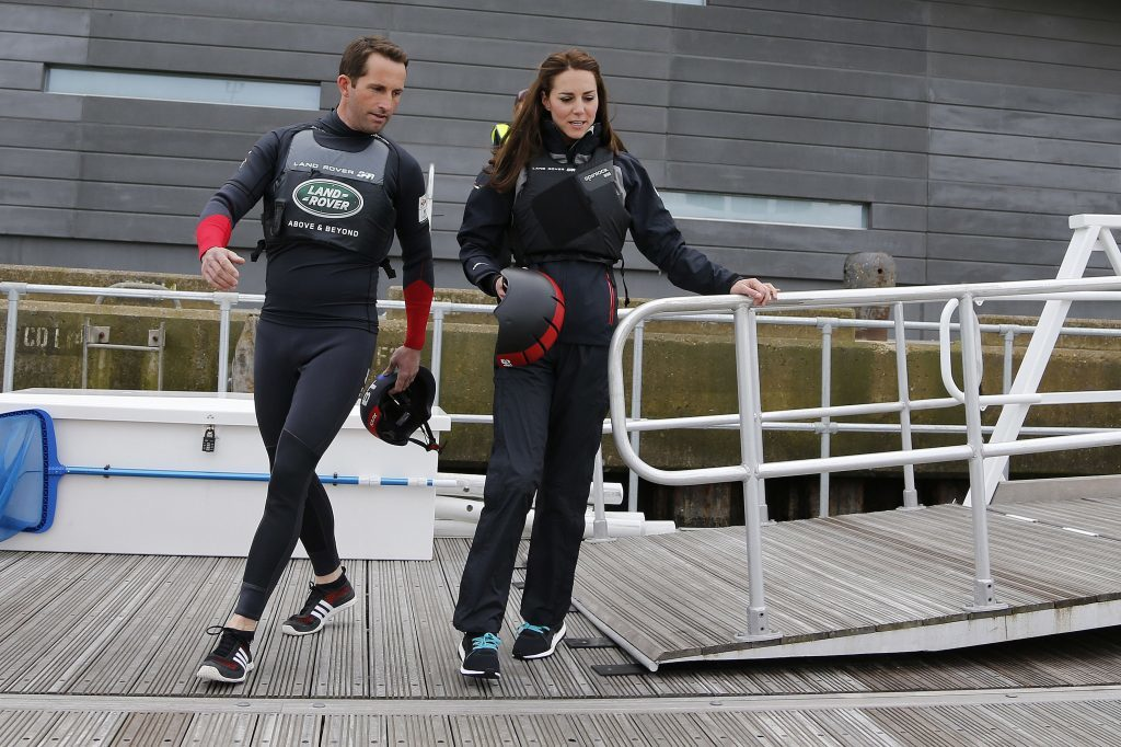 The Duchess of Cambridge taking to the water as joins Sir Ben Ainslie and the crew of the Land Rover BAR for training circuit on the Solent when she visited the Land Rover BAR Base HQ in Portsmouth.