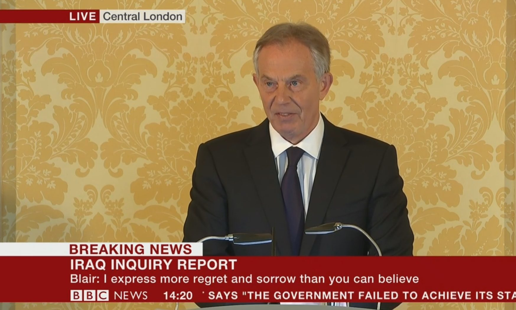 Tony Blair giving his full response to the Chilcot Report.