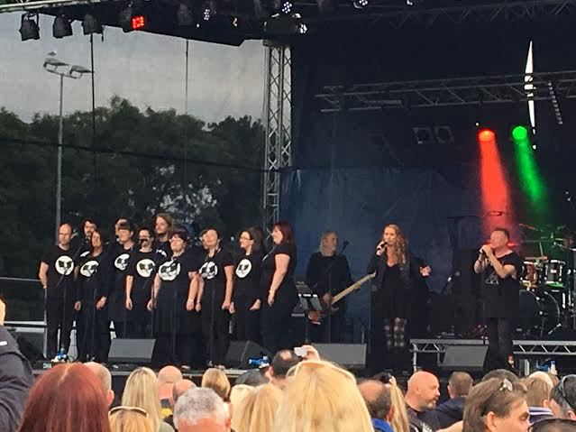 Blue Delta on stage with Kats Choir