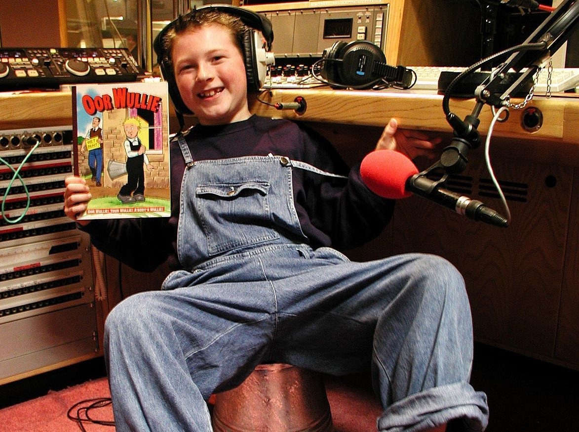 Derek recording the voice of Oor Wullie for the radio documentary broadcast on New Year's Day 2002.