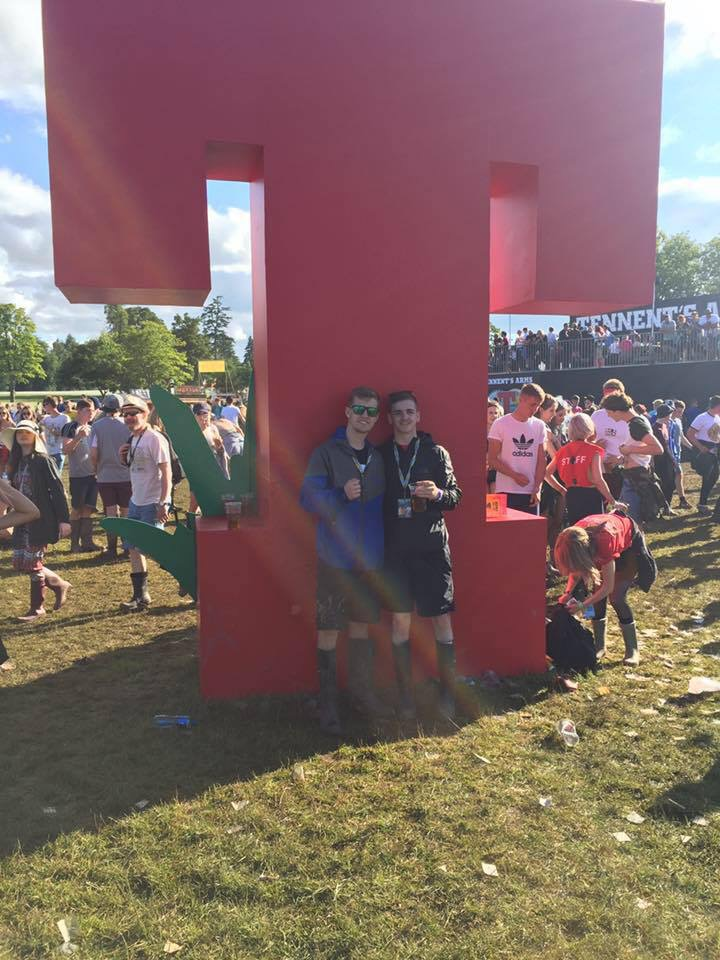 Daniel Tickle, pictured on the left, with friend Jack Fraser at T in the Park on Friday.