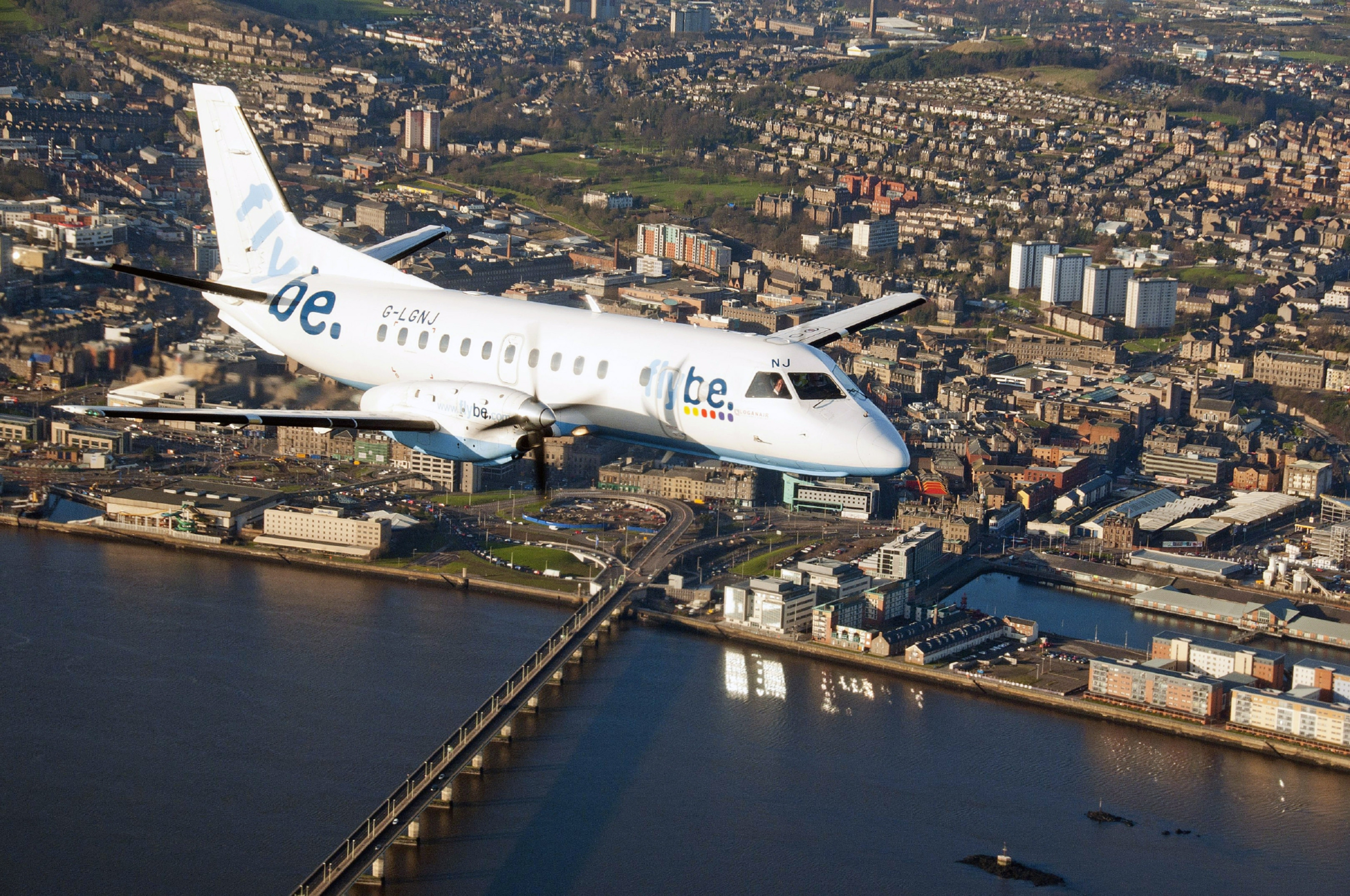 A Loganair Flybe aircraft over Dundee.