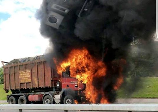 The fire engulfed the cab of the lorry.