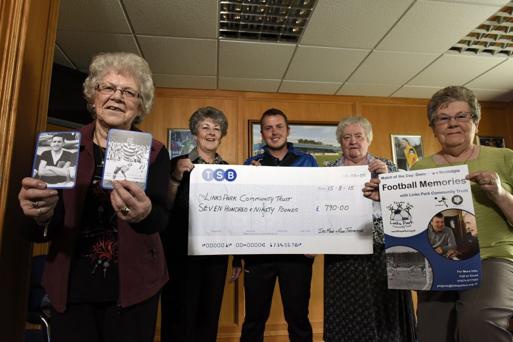 Ann Thomson and Iris Moir and their volunteers held a fundraising coffee morning. The proceeds of £790 were handed over to help with a Football Memories group to help people with dementia. Pictured at the cheque handover (left to right) are Betty Watson, Ann Thomson, Links Park Trust project manager Peter Davidson, Iris Moir and Helen Anderson.