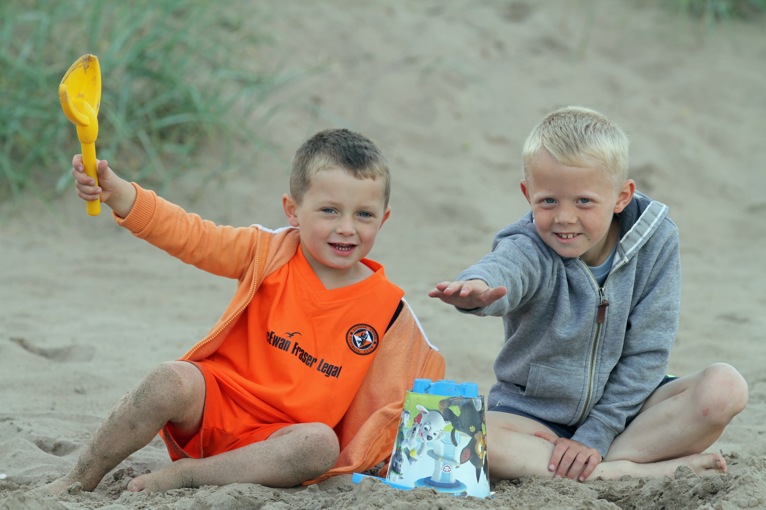Charlie Lamont-Millar, 4, and Ollie Fraser, 6,from Whitfield building a sandcastle at Broughty Ferry beach