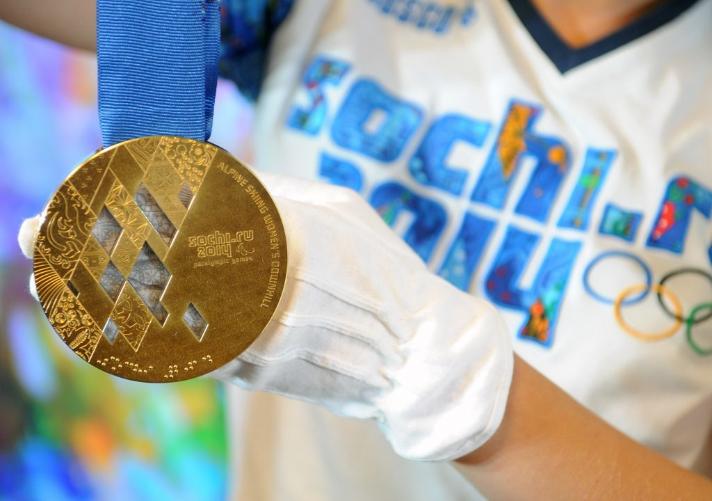 One of the Sochi Winter Olympic gold medals.