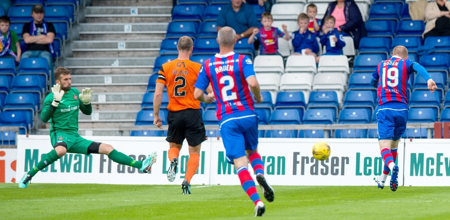 Cammy Bell (left) in action against Inverness.