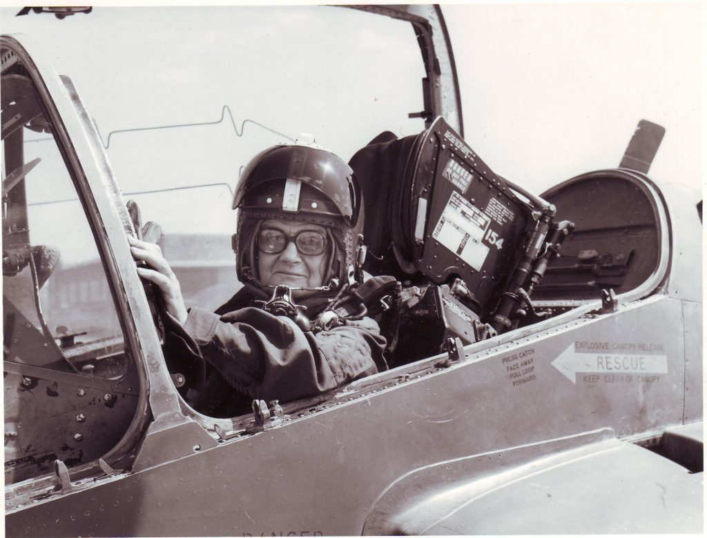 Clare in an RAF jet
