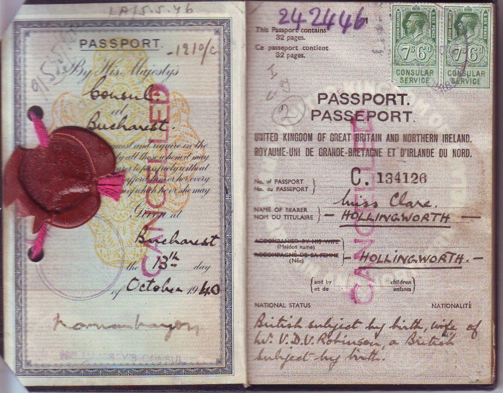 Clare Hollingworths wartime passport