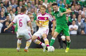 Robbie Keane in action against Scotland.