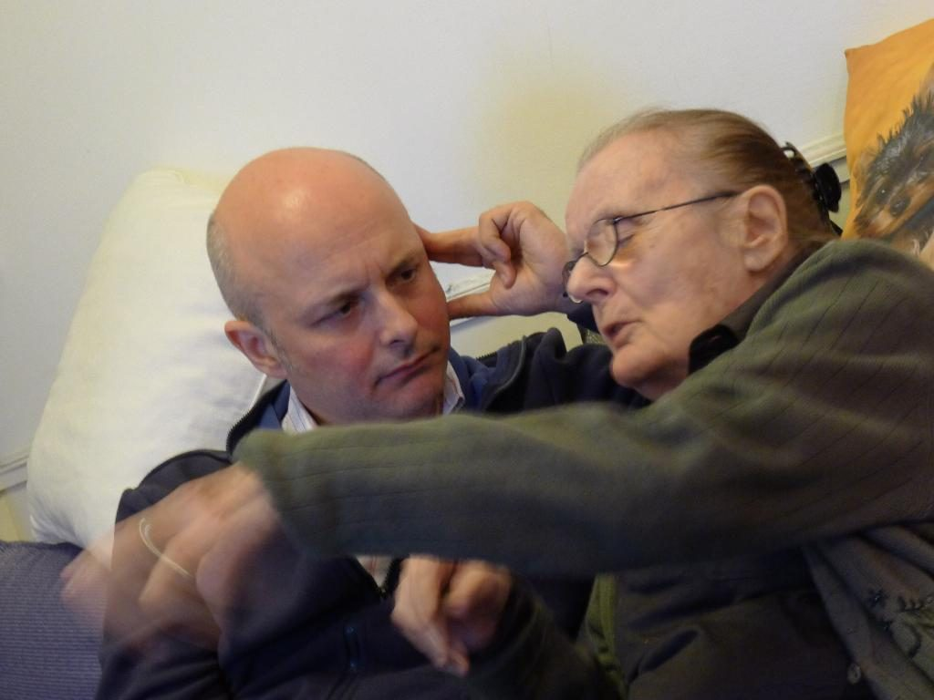 Patrick Garrett with a now frail and blind Clare Hollingworth in Hong Kong