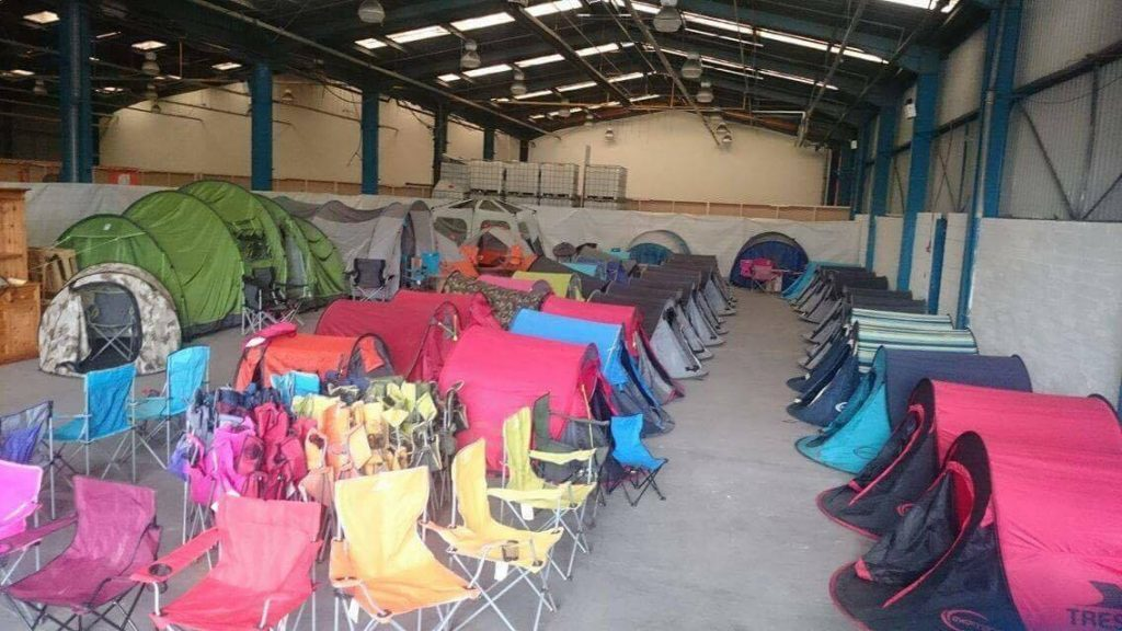 The tents have been cleaned up by volunteers.