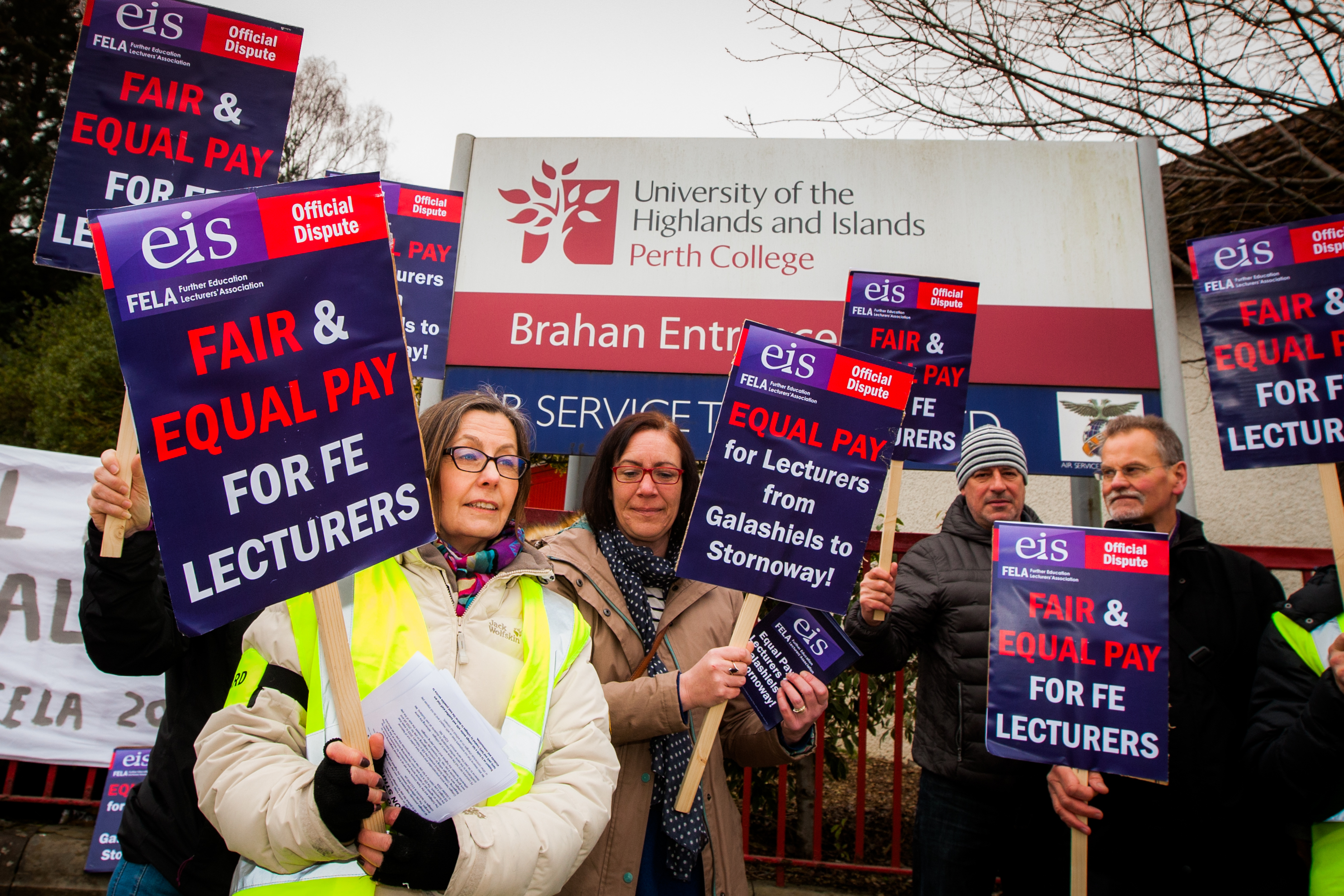 Perth College staff striking in March.