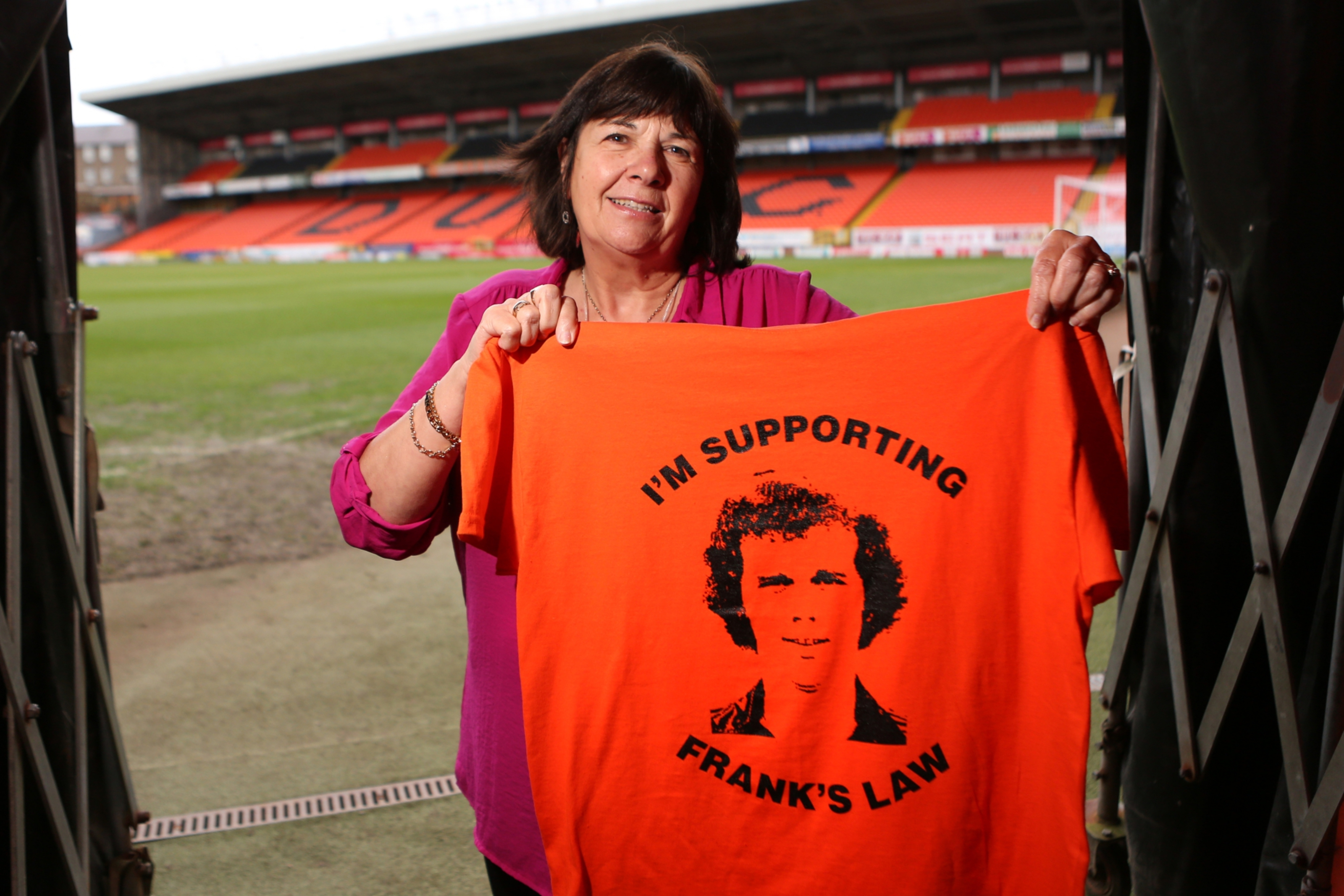 Amanda Kopel with one of the original Frank's Law t-shirts