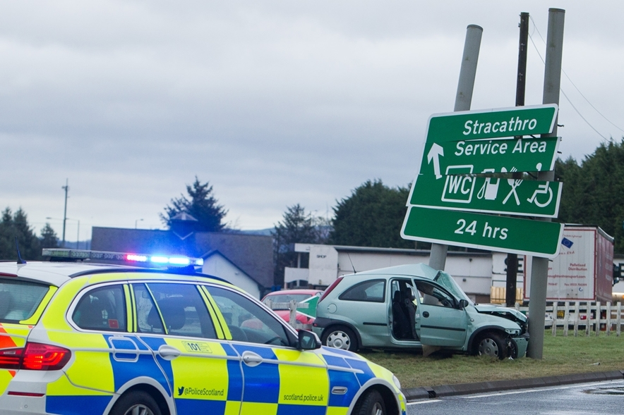 The scene of the accident at Stracathro in February.