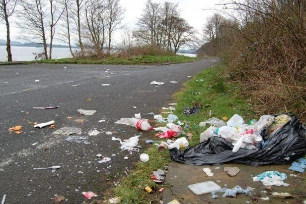Rubbish at Loch Lomond which has banned wild camping in some areas.