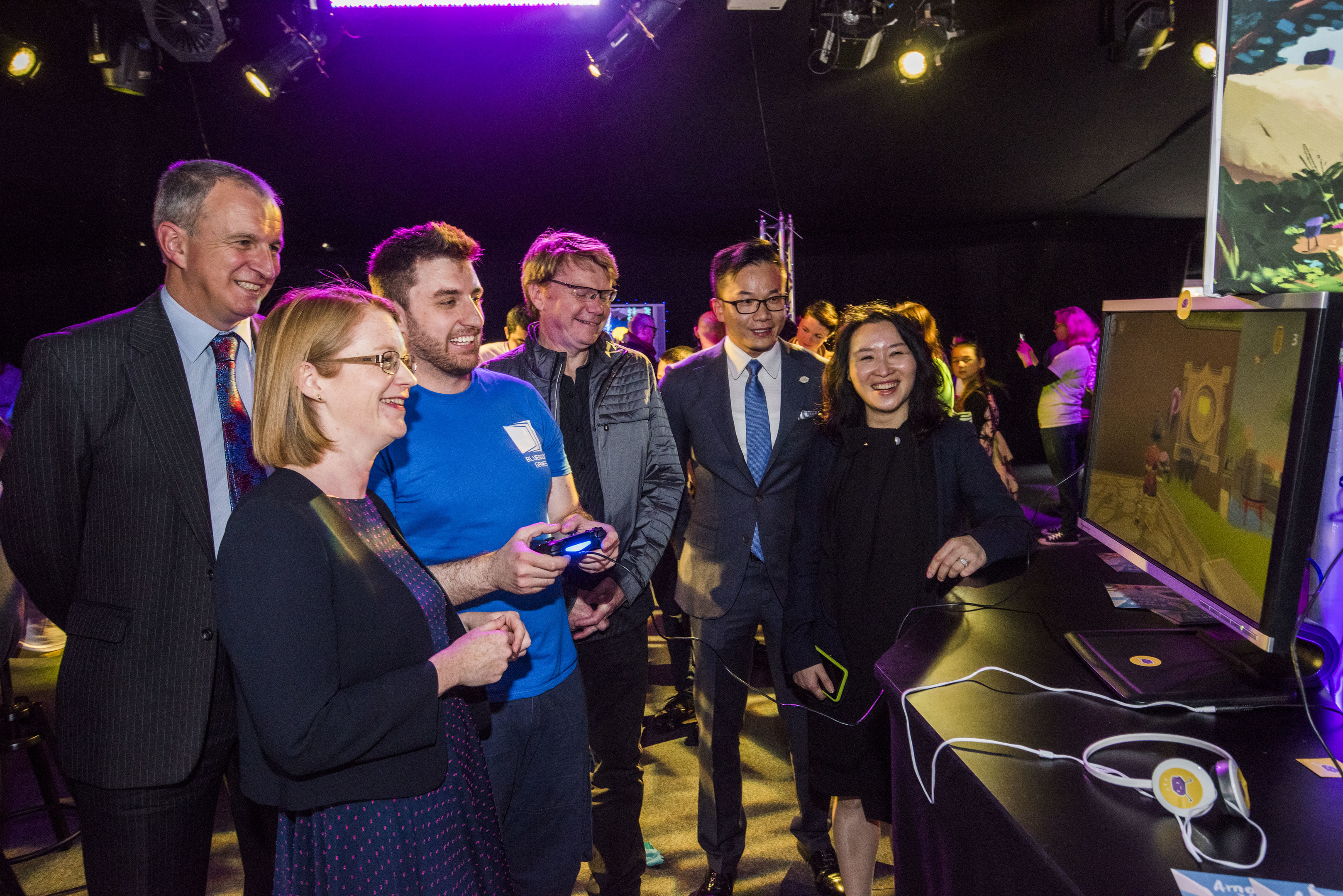 Nigel Seaton, principal of Abertay University, Shirley-Anne Somerville MSP, Lukasz Gomula, Dave Jones, creative director of Reagent Games, Kai Hu, deputy general manager of Perfect World, and Wang Yuyun, senior vice-president of Perfect World, at Thursday's launch.