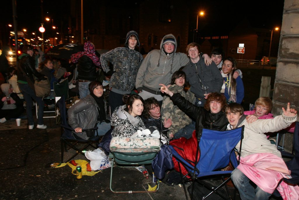 Music fans queuing outside Groucho's overnight for T in the Park tickets in 2009.
