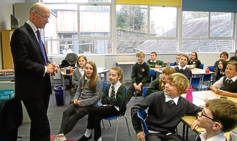 John Swinney visiting Kinnoull Primary School in Perth.