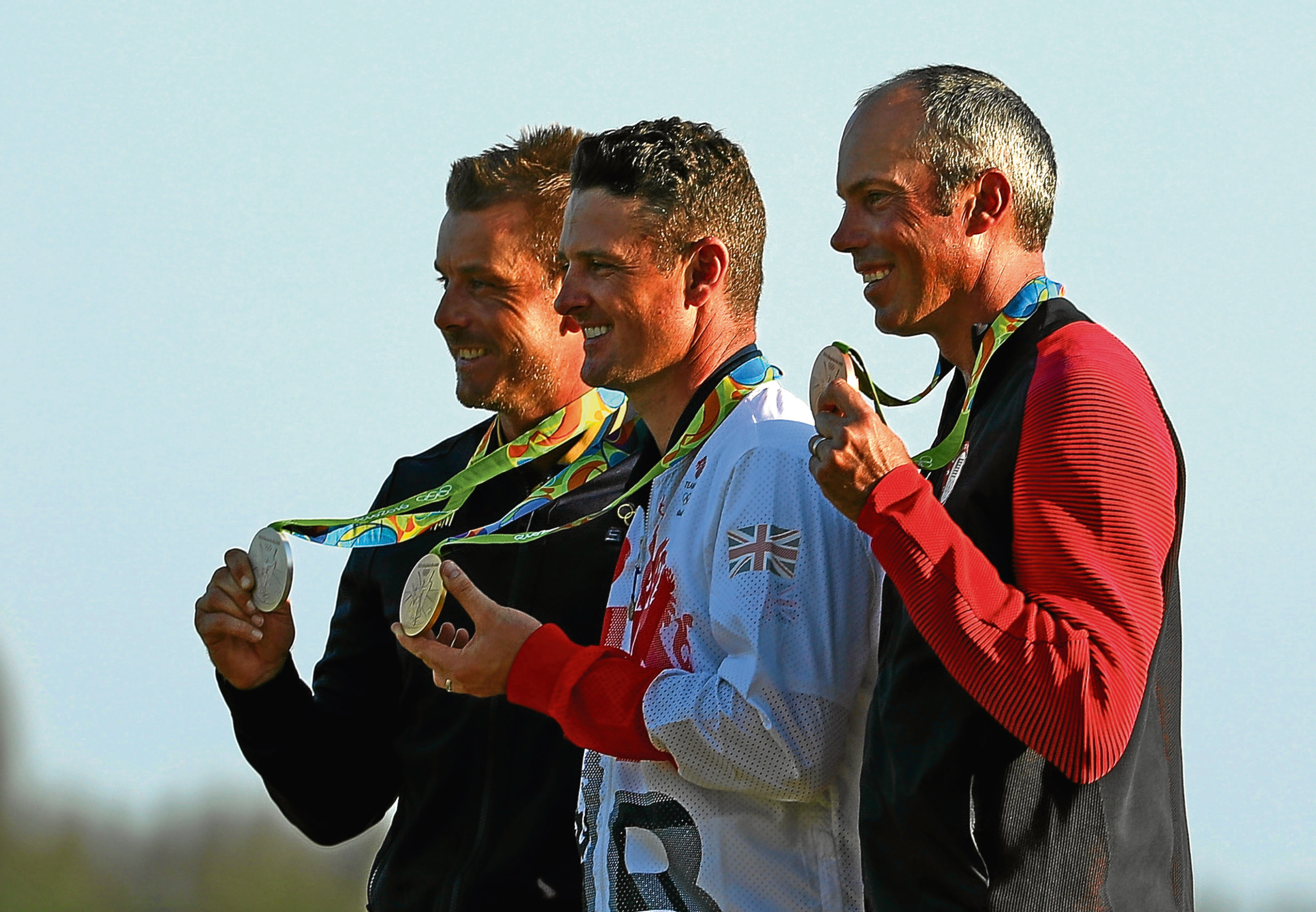 Henrik Stenson, Justin Rose and Matt Kuchar with their Olympic medals.