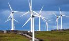 Wind turbines in operation in Scotland.