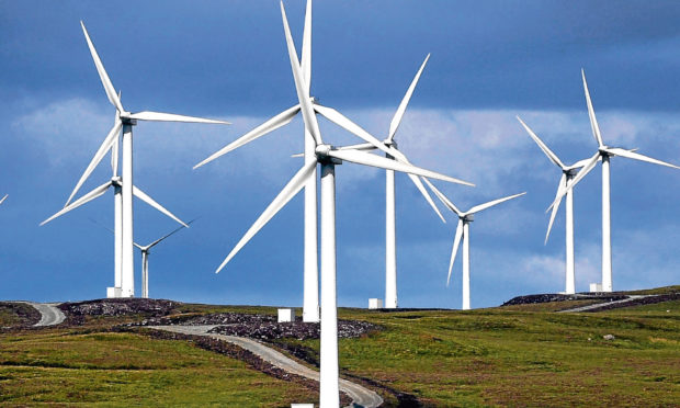 Wind turbines in operation in Scotland.
